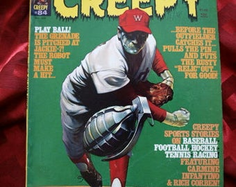 Creepy Magazine 1977 No 84 Warren Publishing Rich Corbin John Severin Baseball Sports  Head Psych Humor Funny Twisted Horror Comic Book