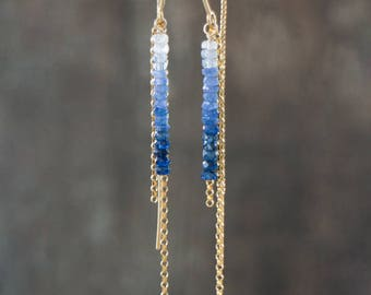 Sapphire Earrings, Ombre, Gift for Wife, Mothers Day, Threader Earrings, Blue Sapphire Jewelry, Linear Earrings, September Birthstone