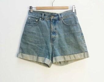 Blue Denim Shorts Vintage High Waisted Denim Shorts Women's Vintage Shorts Rolled Hem Jean Shorts Blue Wash Vintage Denim High Waist Shorts