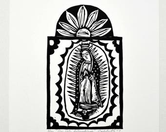 Original Linocut Print Our Lady De Guadalupe