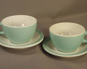 Retro City! 2 Sets Shenango China Rim Rol Wel Roc Turquoise And White Cups & Saucers C-22