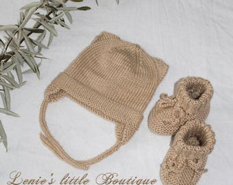 knitted hat and shoes, for baby's, Baby hat, Baby shoes