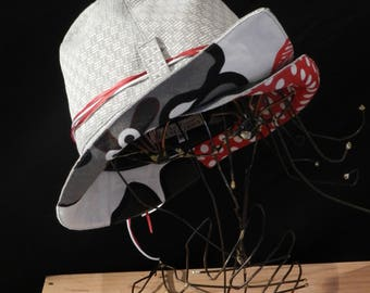 Grey and Red Hat.