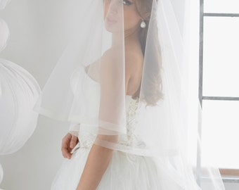 horsehair wedding veil Style 01619V, wedding veil horse hair, crinoline veil, Tulle Two Layer with Horsehair Trim, Unique Veil