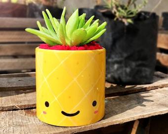 Happy Pineapple mug plant pot - Succulent plant pot, succulent planter, teacup pot, indoor planter, ceramic mug pot, kawaii plant pot