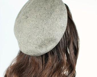 1940's Grey Wool Felt Beret Hat
