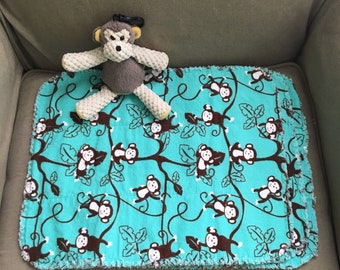 Set of 3 monkey flannel burp cloths with monkey scentsy buddy clip