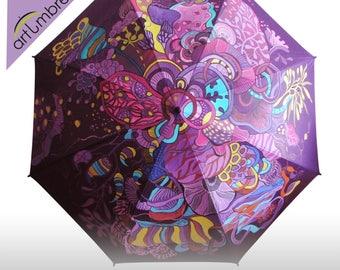 Hand Painted Umbrella • Purple fantasy Garden • Esprit brand • Rain Umbrella • Personalized • Comfortable light Umbrella