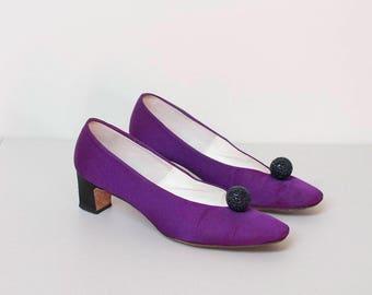 1960s Purple Satin Block Heels / 60s Shoes