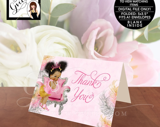 """Pink and Gold Thank You Cards, Baby Shower African American Princess Baby Vintage Girl, Afro Puffs, INSTANT DOWNLOAD 5x3.5""""/2 Per/Sheet."""
