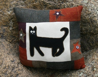 Primitive cat pillow wool Halloween stars upcycled