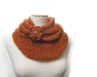 Knit Infinity Scarf, Oversized Scarf, Brown Loop Scarf, Extra Chunky Cowl, Hand Knit Long Snood, Rusty Orange Wool Scarf with Flower