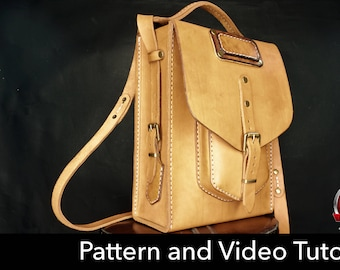 Bag Pattern - Leather DIY - Pdf Download - Leather Pattern - messenger bag template - bag template
