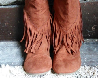 Faux suede Fringe moccasin boots