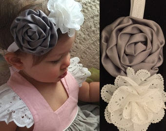 M2M Well Dressed Wolf Aunt Heart (Pink, Blue and Greige)- Gray and White Eyelet Baby Headband