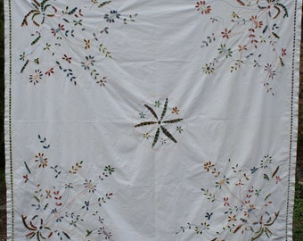 """Colorful cut-out cotton embroidered square tablecloth 65"""" x 66"""" flowers"""