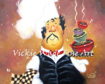 Fat Chefs Art ORIGINAL Painting, 16X16 fat chef paintings, art, kitchen art, chefs on canvas, funny waiter, restaurant art, Vickie Wade Art