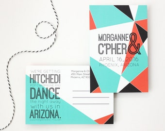 Save the Date Postcards Custom Wedding Invitations Abstract Geometric Typography Post Cards Modern Design Save the Dates Orange Turquoise
