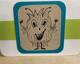 Set of six monster notecards