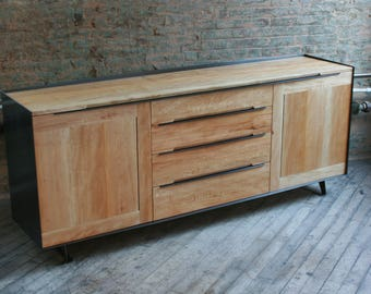 Reclaimed Wood Sideboard or Media Cabinet, Modern, with Blackened Steel