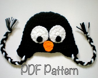 PATTERN:  Penguin hat, size Newborn to Adult, baby kid animal hat, easy crochet PDF, InStAnT DoWnLoAd, Permission to Sell
