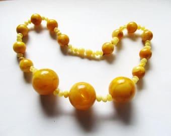 Amber Necklace 47.5 gr. Natural Baltic round beads yellow egg yolk butterscotch opaque polished choker collar medical healing ecologocal