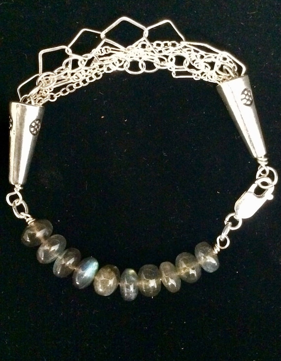 Sterling silver and AA grade laboridites make up this elegant bracelet!
