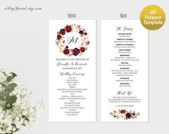 All Purpose Burgundy Floral Long Program Template, Printable Wedding Ceremony Party Anniversary Program, DIY Instant Download #101#105#115