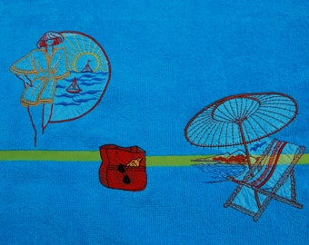 Beach towel machine embroidered Turquoise Blue