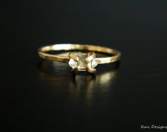 14k Gold Ring, Engagement Ring, Herkimer Ring, Tiny Herkimer Engagement Ring, April Birthstone, Wedding Gold Ring