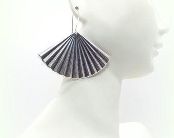 Fan Earrings - Antique Silver Fan Earrings - Silver Fan Earrings - Fan Earrings