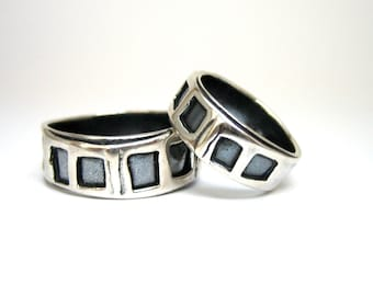 Rustic Wedding Bands - Alternative Wedding Bands - Sterling Silver Rings with Black Patina