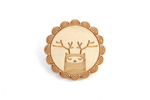 Reindeer brooch - deer pin - woodland creature - graphic fantastic jewelry - illustrated forest animal jewellery - lasercut maple wood