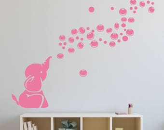 Elephant Wall decal v2 - nursery Wall sticker - wall art - blowing bubbles REMOVABLE