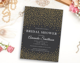Gold Sparkle Bridal Shower Invitation, Gold Sprinkle with charcoal background Invite