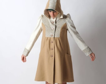 Beige A-line coat, white, beige and blue wool winter coat with round hood, Womens patchwork coat, Winter clothing, MALAM