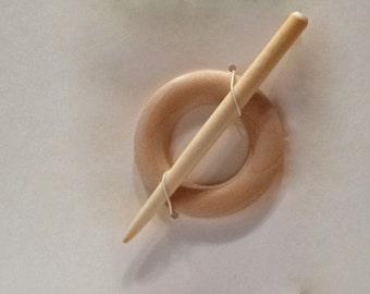 WMP-107 Wood Shawl Pin