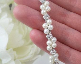 Wrapped Pearl and Rhinestone Bridal Tiara / Headband
