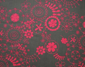 Fabric grey pink flowers Cotton Fabric House textilies Fabric Scandinavian Design Scandinavian Textile