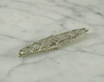 14K White Gold Filigree Brooch with Diamond