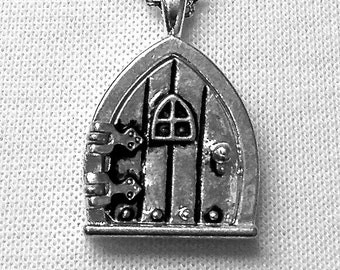 Hobbit Hole / Fairy Wish Door Locket Necklace, Classic Silver Finish, 18""