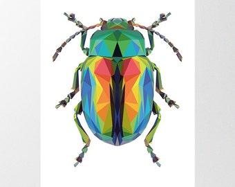 Beetle Art Print, Low Poly Bug Illustration, Printable Download, Geometric Iridescent Insect Polygon Beetle Poster, Boys Room Entomology Art