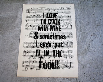 Linocut typo * I LOVE to cook with WINE * sheet music
