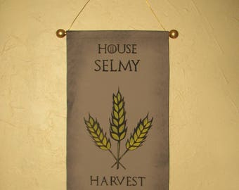 Hand Painted House Selmy Canvas Banner - Name and Motto - Game of Thrones - Sigil - Sign - Cosplay Prop