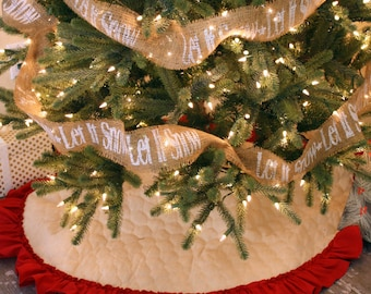 Quilted Christmas Tree Skirt with Hemmed Ruffle Fringe - 42 Inch Diameter