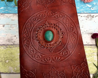 XL LEATHER JOURNAL- Extra Large - Student - Embossed Leather Notebook - Sketch book - Handmade - Vintage Leather Journal - Diary - Scrapbook