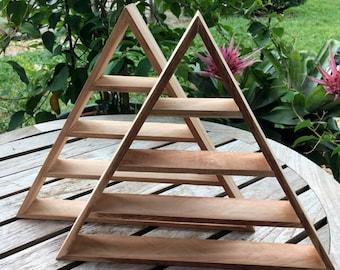 Raw Energy Triangle Shelf, Pyramid Shelf, Cedar Shelf, Organic, Crystal Display, Trinity Shelf, Magic, Magical Shelf