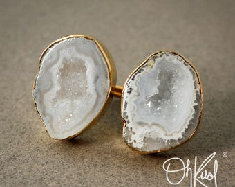Gold Dual Geode Druzy Ring - Statement Ring - Raw Geode