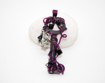 Twilight owl skeleton key pendant necklace, wire wrapped with Swarovski Elements jet black beads and a silver charm