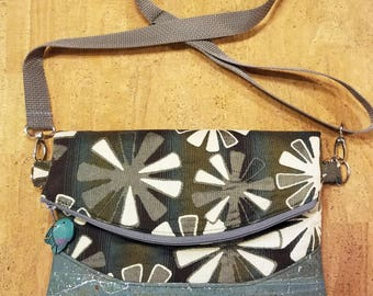 Cross body bag, purse, cork, grey, brown, turquoise , fold over style, Heidi Swoon, concealed back zipper pocket,  flowers, perfect